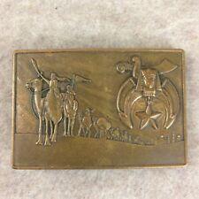 Shriners Belt Buckle - Vintage Caravn Scimitar Crescent Masonic Klitzner Bronze