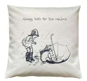 *SALE* Rainbow - 40cm Ivory cushion cover Winnie The Pooh Nursery Baby Gift