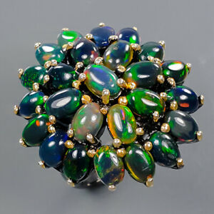 Luxury vintage Art Black Opal Ring Silver 925 Sterling  Size 7.75 /R178052