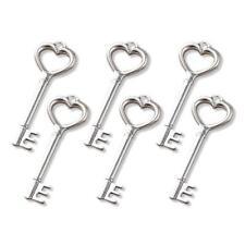 Buddly Crafts Silver Tone Metal Charms - 6pcs Heart Keys 18mm x 51mm