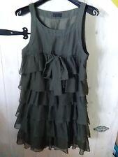 minni Kleid Tunika Gr S Olive Vollant Schleife Vera Moda romantisch