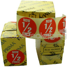 Roll of 500 'NOW 1/2 PRICE' Red Price Labels Stickers Half Price QUALITY 45mm