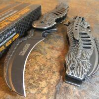 TAC-FORCE STONE WASHED Spring Assisted Open SKELETON Folding Pocket Knife