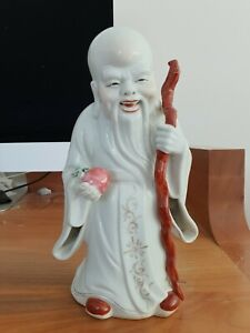 PERFECT Antique Chinese Porcelain Shoulao Figure with Mark - Republic Period