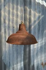 LARGE RUSTY STEEL VINTAGE STYLE BARN LAMP WORKSHOP CEILING LIGHT SHADE RS3G3