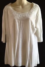 Pure DKNY Light Weight Knit 100% Linen Tunic Top Size M Embroidered Neckline