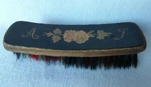 Ancienne brosse a poils souple en bois Marqueterie décor de fleurs Napoléon III