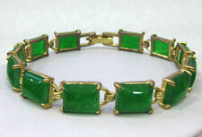 Pretty Natural Green Jade Gemstone gold-color chain bracelet 7.5inch 02