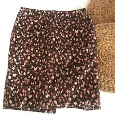 Merona sz 2 womens skirt brown floral watercolor pink lined pencil