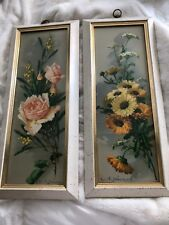 Vintage Turner Wall Accessory floral prints roses & mums  Mid Century Modern