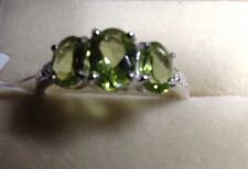 2.4 Ct, Chinese, Peridot Ring, 3 Stone, Sterling Silver, Size O Or Q