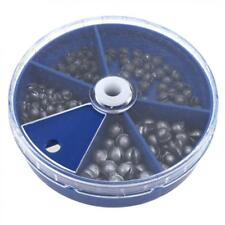 205pcs Fishing Egg Bullet Rig Sinkers Angling Lead Weight Split Shot with Box