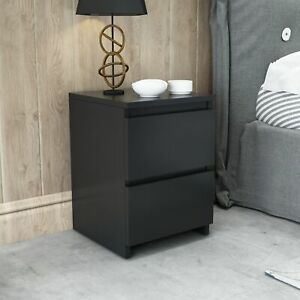 2 Drawers Bedside Table Cabinet Nightstand Chest of Drawer Storage Bedroom Black