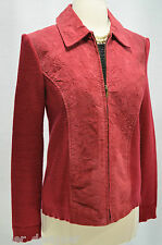 Womens Coldwater Creek Leather Suede Jacket Brick Red Sweater Coat  knit Top S