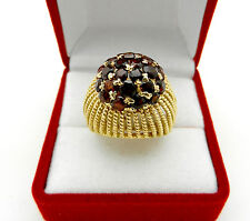 Vintage Antique 18k Yellow Gold Domed  GARNET Cluster Ring 10.3 grams size 7.5