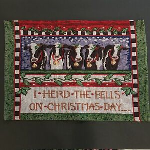 """8 Country Christmas Tapestry Placemats 18""""x13"""" ~ Sweet Cow Bell Design"""