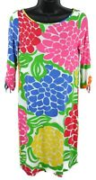 Lilly Pulitzer Bold Floral Multi-Color dress 3/4 sleeve Sz S Small Pink Blue