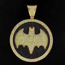 14K Gold Fill Black & Yellow Diamond Crystal Outrageous Hand Set Bat Man Pendant