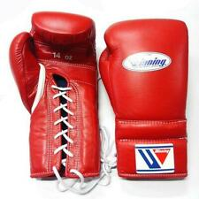 WINNING Boxing Gloves MS-500 Red Lace Up Pro Type Training 14 oz Made in Japan
