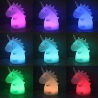 Cute Kids LED Night Light Bedroom Unicorn Animal Home Decor Battery Wall Lamp