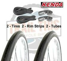 "2-Pack Kenda K35 BLACK Wall 27x1-1/4"" Road Bike Tires Tubes & Rim Strips Kit Set"