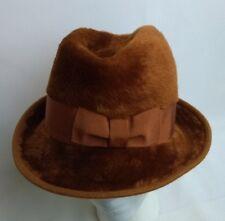 Vtg Faux Fur Hat Bucket Cloche Western Tall Bowler Brown Womens Mens Small Warm