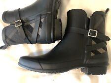 BURBERRY RIDDLESTONE Black Rubber RAIN BOOTS SHOES Sz EU 39 / US 8.5-9 Reg $385