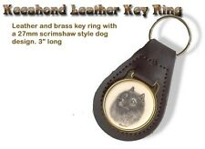 Keeshond Brass and Leather Dog Key Ring