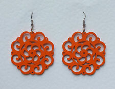 LARGE ORANGE LASER CUT FILIGREE WOOD ROUND EARRINGS SILVER PLATED festival