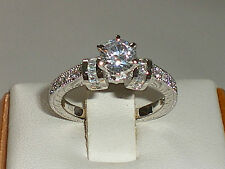 Hand Made Ladies 925 Sterling Silver White Sapphire Solitare With Accents Ring