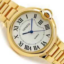 Geneva Gold Large Case Classic Roman Dial Women's Bracelet Quartz Watch