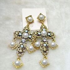 Renaissance Style Crystal Deco White Pearl Gold Filigree Baroque Cross Earrings