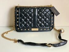 NEW! BEBE STEPHANIE BLACK QUILTED W/ GOLD CHAIN CROSSBODY SLING BAG $89 SALE