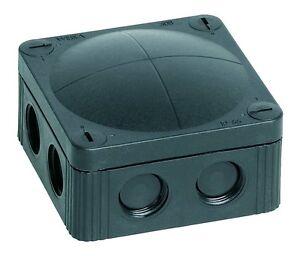 Wiska 60580 Black waterproof junction box with 5 pole terminal 85mm x 85mm x 51m