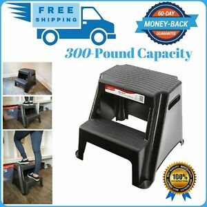Rubbermaid 2-Step Molded Plastic Stool W/ Non-Slip Step Tread 300-Pound Capacity