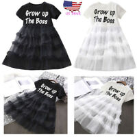 Children Kids Clothes Baby Girl Short Sleeve Letter Party Tulle Dress Outfit Set