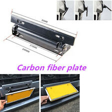 Carbon Fiber Style Adjustable Number Relocate Car License Plate Frame Holder