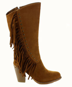 New brown camel fringes tassel Stacked Heel mid calf women boots Liliana Atelier