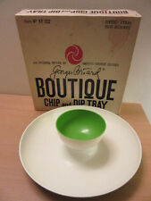 Mid Century Georges Briard Boutique Chip & Dip Tray Green & White w/ box Kf 302