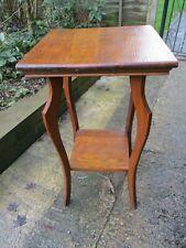 Fab Vintage Retro Deco Utility Tall Oak Side Hall Table Plant Stand w/ Shelf