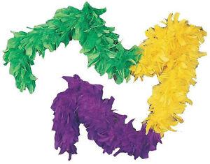 Tri-Color Green Yellow Purple Mardi Gras Turkey Feather Boa Costume Accessory