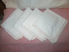 4 Vintage Over-Sized Large Muslin Tea Towels - Red Stitching Around Edge