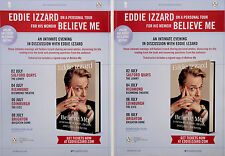 EDDIE IZZARD 2017 BELIEVE ME TOUR FLYERS X 2  - COMEDY