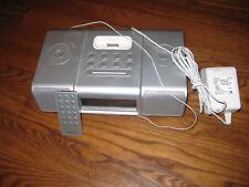 iHome iH9 iPod Dock Speaker Dual Alarm Clock Silver AM/FM Radio remote Fast Ship