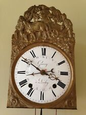 19th C FRENCH CLOCK wag on the wall SIGNED: GUERRY A LOULAY farm/planting scene