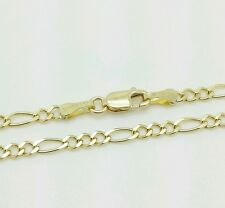 "Polish Figaro Chain Anklet 10"" 14k Solid Yellow Gold High"