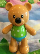 Lovely Chunky ELC Click Clack Bear 12cm Green And White Polka dot Top