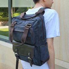 Black UNI CANVAS LEATHER BACKPACK RUCKSACK BAG Top Handles School Travel 2123