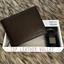 CK Calvin Klein Men's Genuine Leather Bifold Wallet with Key Fob - Brown