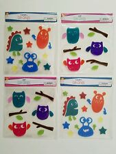 Gel Clings Window Decoration 4 Pack Lot w 64 Reusable Decals: 2 Owl & 2 Monster